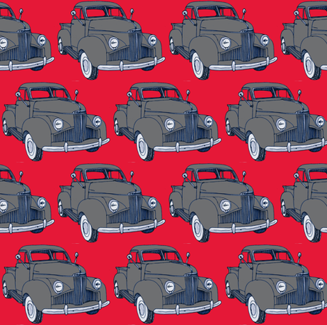 Studebaker truck M5 Coupe Express gray on red fabric by edsel2084 on Spoonflower - custom fabric