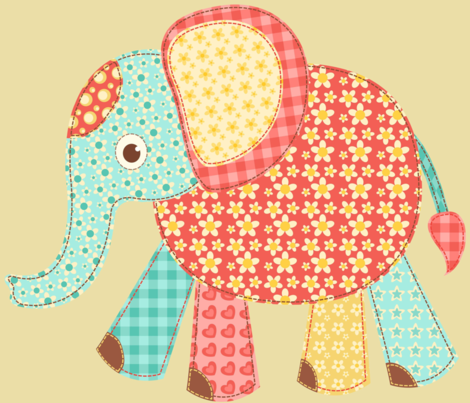 Patchwork Elephant fabric by twosister42 on Spoonflower - custom fabric