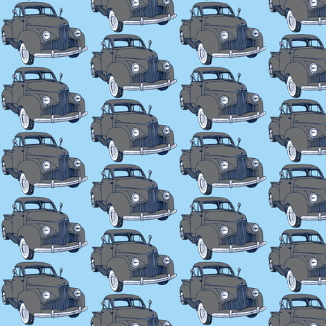 1940's Studebaker pick up truck  gray on light blue fabric by edsel2084 on Spoonflower - custom fabric