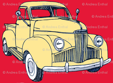 1940's Studebaker pick up truck  yellow on red