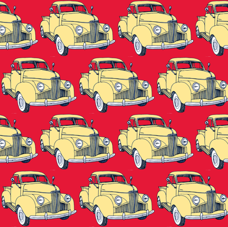 1940's Studebaker pick up truck  yellow on red fabric by edsel2084 on Spoonflower - custom fabric