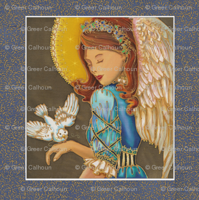 Angel Dove Christmas Pillow Panel