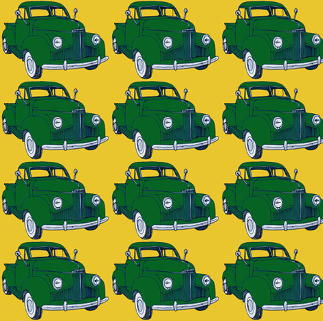 1940's Studebaker truck  green on yellow M Series fabric by edsel2084 on Spoonflower - custom fabric
