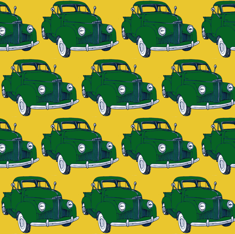 1940's Studebaker truck M5 Coupe Express green on yellow fabric by edsel2084 on Spoonflower - custom fabric
