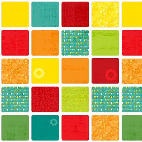 Space Robot Squares fabric by jennartdesigns on Spoonflower - custom fabric