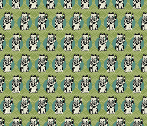 Lucky_cats_-green fabric by hoodiecrescent&stars on Spoonflower - custom fabric