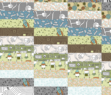 hello robot diagonal cheater quilt fabric by babysisterrae on Spoonflower - custom fabric