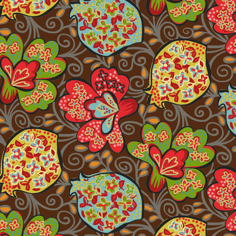 Funky Floral / Brown fabric by hoodiecrescent&stars on Spoonflower - custom fabric