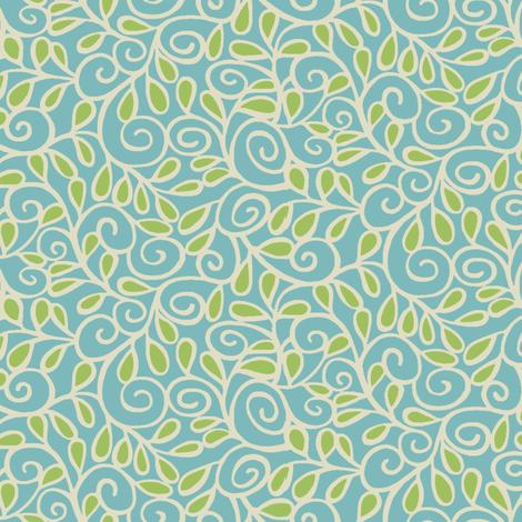 Step 'n Seed / Aqua fabric by hoodiecrescent&stars on Spoonflower - custom fabric