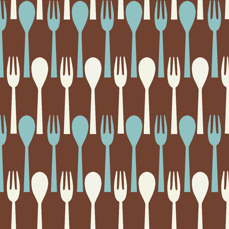 Spoon & Fork / Brown fabric by hoodiecrescent&stars on Spoonflower - custom fabric
