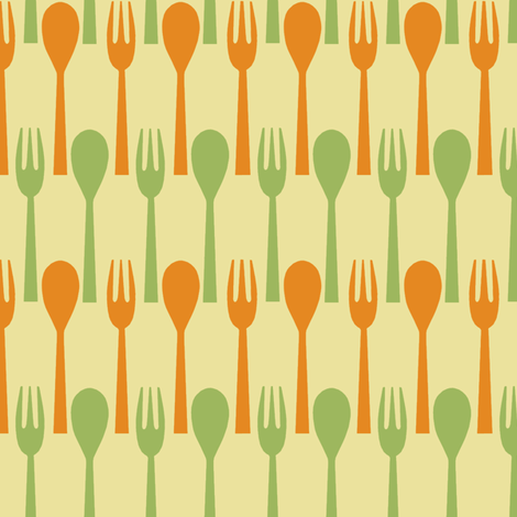 Spoon & Fork / Butter fabric by hoodiecrescent&stars on Spoonflower - custom fabric