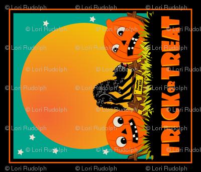 Scaredy Cat and Jacks ~ Tea Towel or Halloween Treat Bag Panel