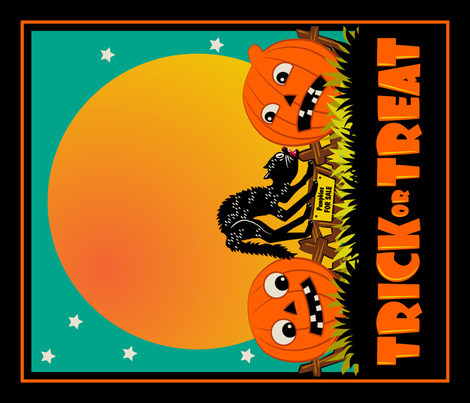 Scaredy Cat and Jacks ~ Tea Towel or Halloween Treat Bag Panel fabric by retrorudolphs on Spoonflower - custom fabric