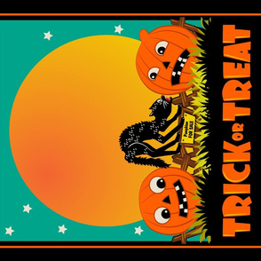 Scaredy Cat and Jacks ~ Tea Towel or Halloween Treat Bag Panel