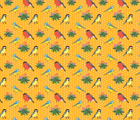 Birds and Roses (Orange yellow) fabric by nimochka on Spoonflower - custom fabric
