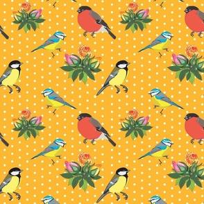 Birds and Roses (Orange yellow)