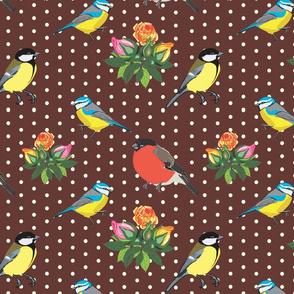 Birds and Roses (brown)
