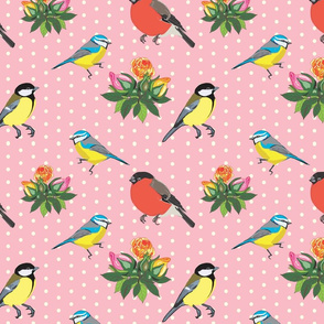 Birds and Roses (pink)