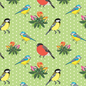 Birds and Roses (green)
