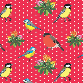Birds and Roses (Red)
