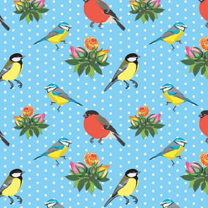 Birds and Roses (Baby Blue)