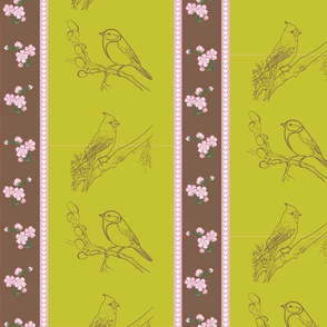 Birds and Blossoms (Avocado and Brown)