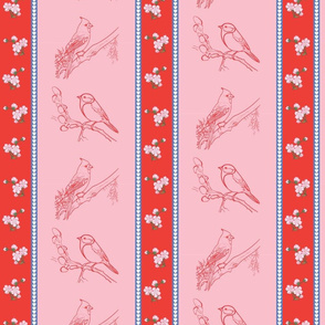 Birds and Blossoms (Red and Pink)