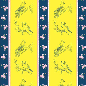 Birds and Blossom (Petrol and Yellow)