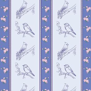 Birds and Blossoms (Lilac blue)