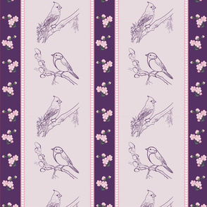 Birds and Blossoms (pink and purple)