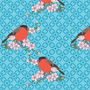 Bullfinches and Blossoms (Turquoise)