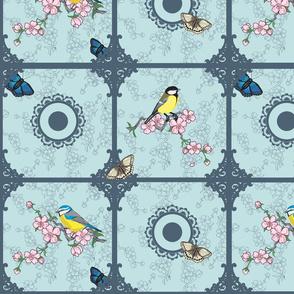 Birds at your window (Aqua blue and Petrol)