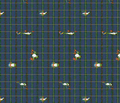 Rainforest Plaid with Red Eyed Tree Frogs, Vertical fabric by muddyfoot on Spoonflower - custom fabric