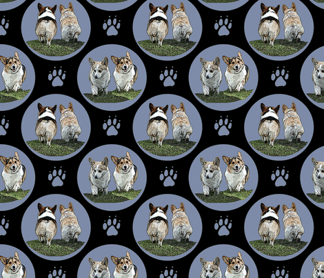 Pembrokes coming and going - blue fabric by rusticcorgi on Spoonflower - custom fabric