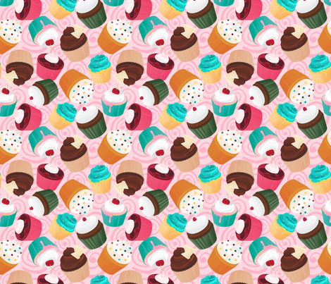 Cupcakes and Swirls Collection - Cupcakes on Pink by JoyfulRose fabric by joyfulrose on Spoonflower - custom fabric