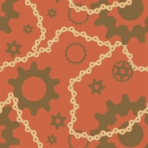 Steampunk Gears in Salmon and Taupe