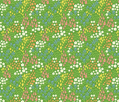 spring field designs green fabric by cjldesigns on Spoonflower - custom fabric