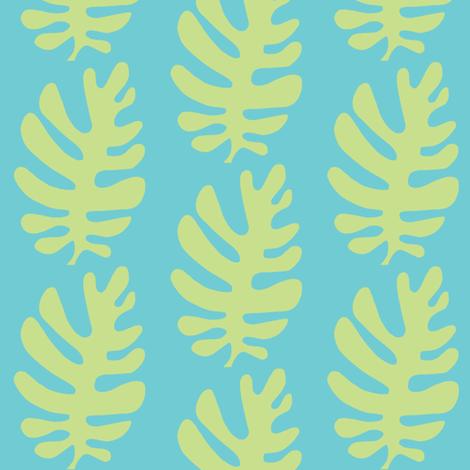 Funky Leaf (lime & deep aqua) fabric by pattyryboltdesigns on Spoonflower - custom fabric
