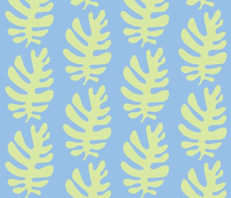 Funky Leaf  (light lime & sky blue) fabric by pattyryboltdesigns on Spoonflower - custom fabric