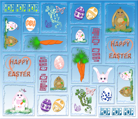 Easter Bunnies fabric by dancingwithfabric on Spoonflower - custom fabric