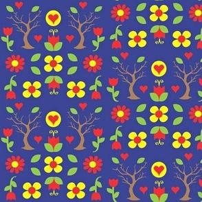 swede flower forest  brights n blue half drop