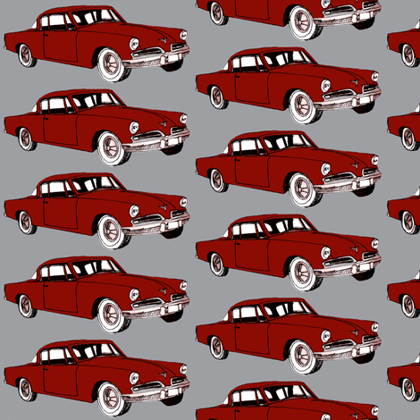 Big red 1953 Studebaker on gray background fabric by edsel2084 on Spoonflower - custom fabric