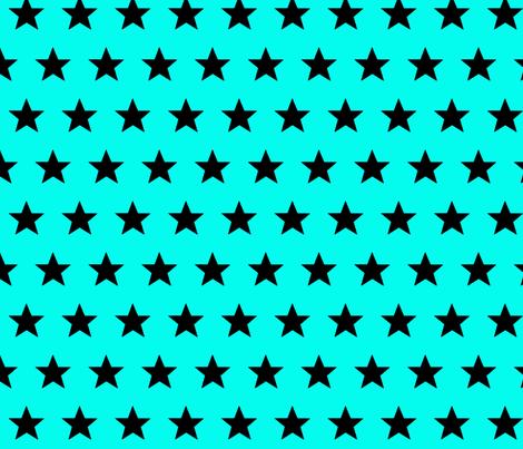 star aqua black fabric by katarina on Spoonflower - custom fabric