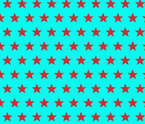 star aqua red fabric by katarina on Spoonflower - custom fabric