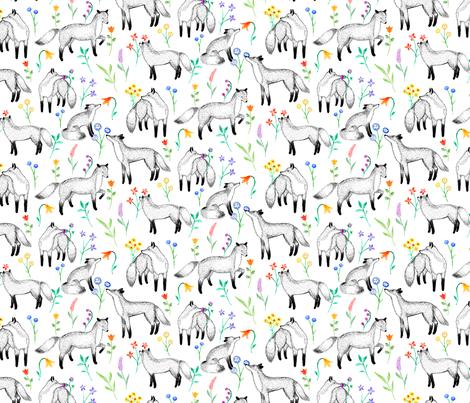 Fox Floral fabric by siankeegan on Spoonflower - custom fabric