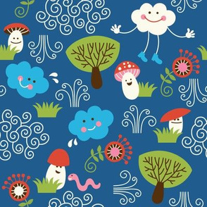 pattern with cute mushrooms