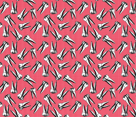 small scale teeth on white dots red background fabric by susiprint on Spoonflower - custom fabric