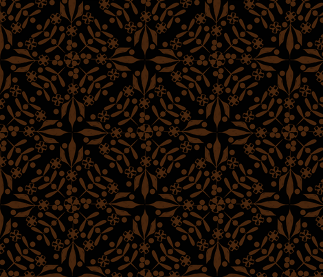 Leaves and Berries by 4 Twist - Coffee fabric by glimmericks on Spoonflower - custom fabric