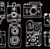 Vintage Cameras // black and white hand-drawn vintage camera illustration