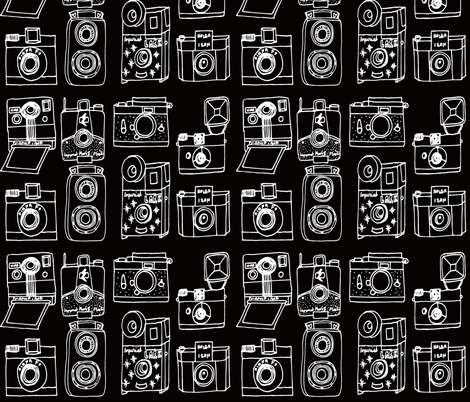 Vintage Cameras // black and white hand-drawn vintage camera illustration fabric by andrea_lauren on Spoonflower - custom fabric